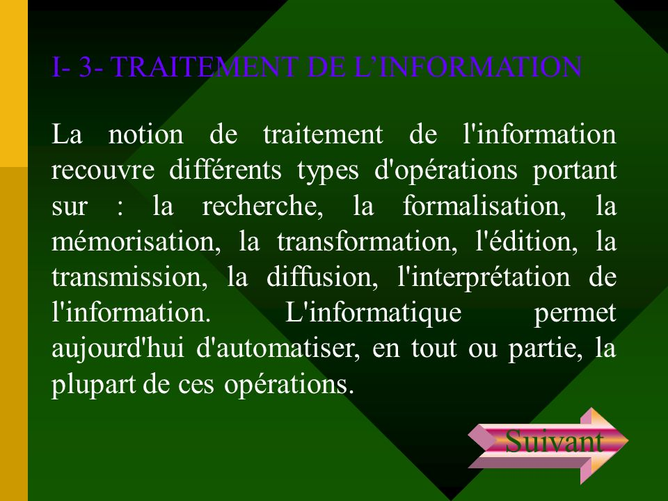 Suivant I- 3- TRAITEMENT DE L'INFORMATION