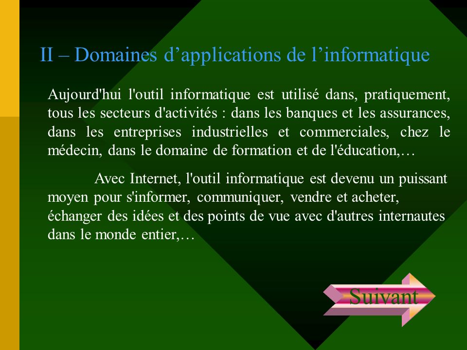 Suivant II – Domaines d'applications de l'informatique