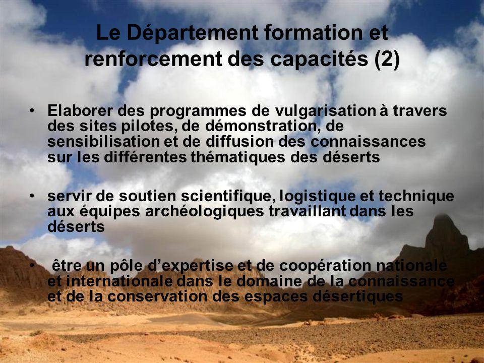 Le Département formation et renforcement des capacités (2)