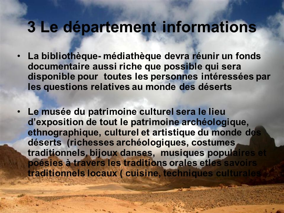 3 Le département informations