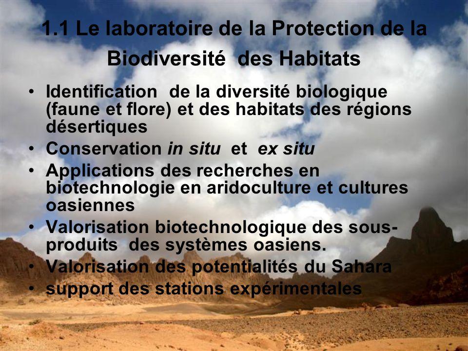 1.1 Le laboratoire de la Protection de la Biodiversité des Habitats