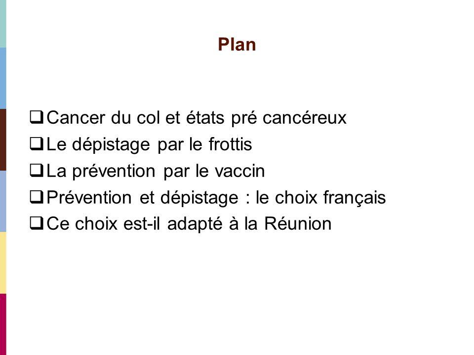 Plan Cancer du col et états pré cancéreux. Le dépistage par le frottis. La prévention par le vaccin.