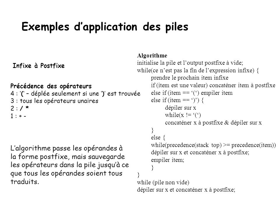 Exemples d'application des piles