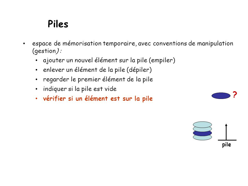 Piles espace de mémorisation temporaire, avec conventions de manipulation (gestion) : ajouter un nouvel élément sur la pile (empiler)
