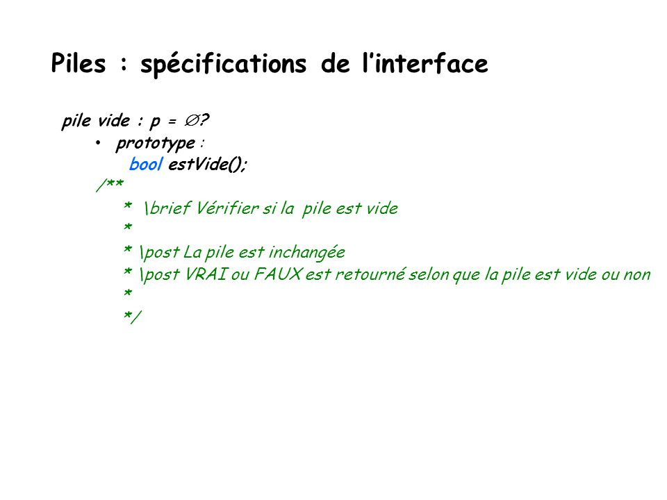 Piles : spécifications de l'interface