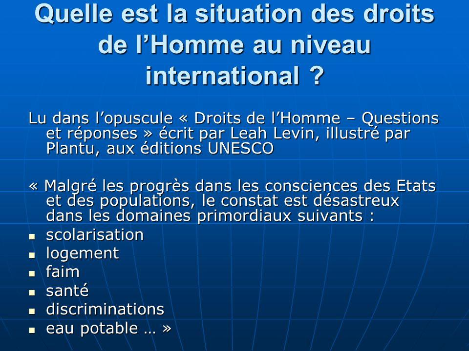 Quelle est la situation des droits de l'Homme au niveau international