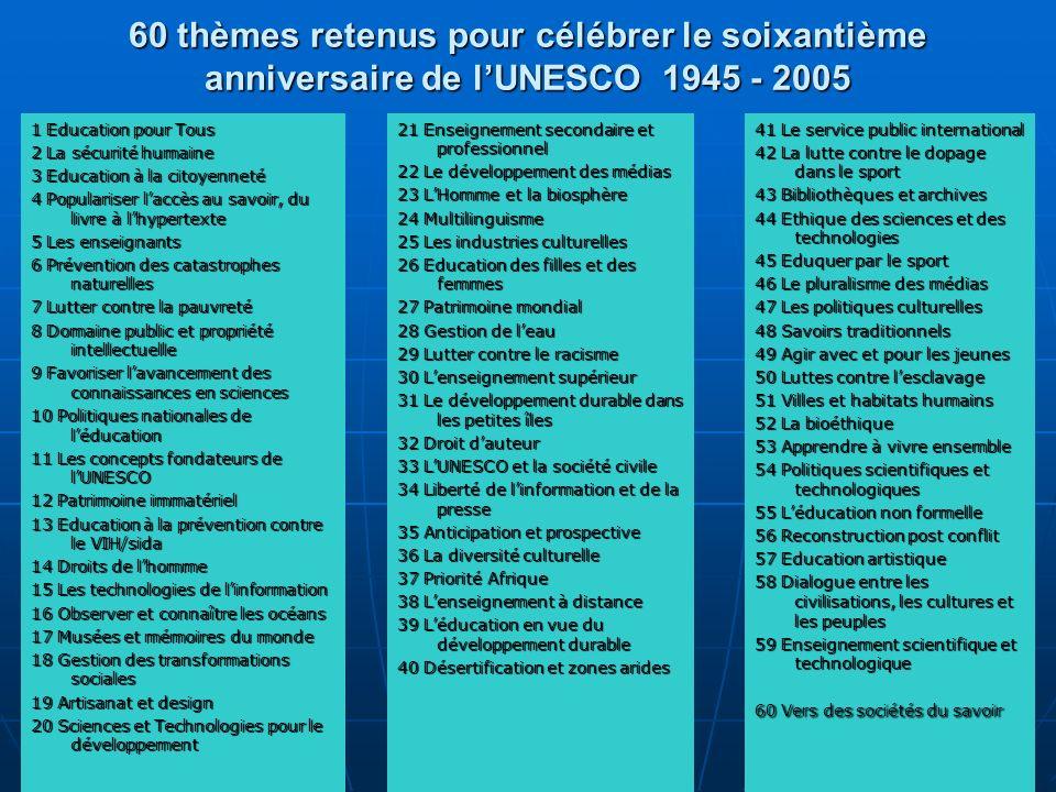60 thèmes retenus pour célébrer le soixantième anniversaire de l'UNESCO 1945 - 2005