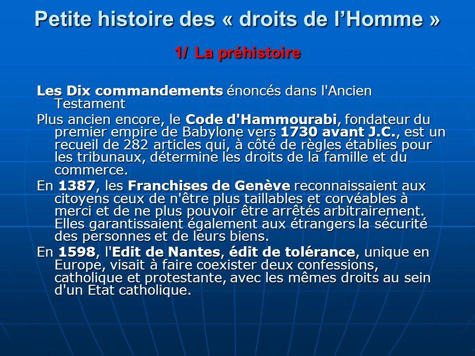 Petite histoire des « droits de l'Homme » 1/ La préhistoire