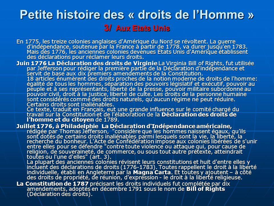 Petite histoire des « droits de l'Homme » 3/ Aux Etats Unis