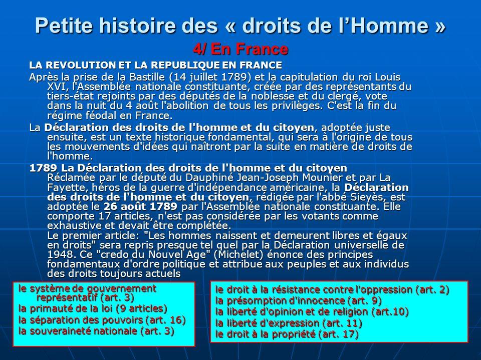 Petite histoire des « droits de l'Homme » 4/ En France