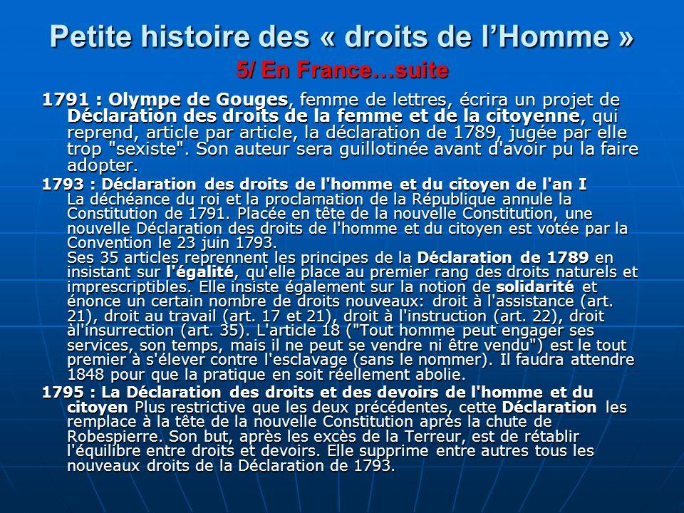 Petite histoire des « droits de l'Homme » 5/ En France…suite