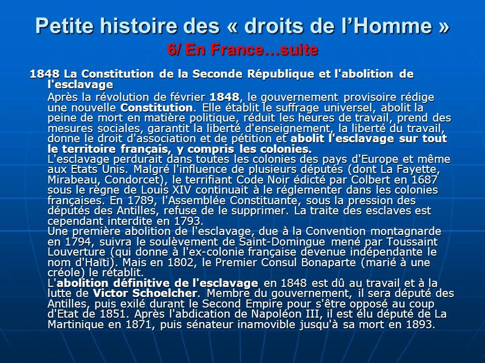 Petite histoire des « droits de l'Homme » 6/ En France…suite