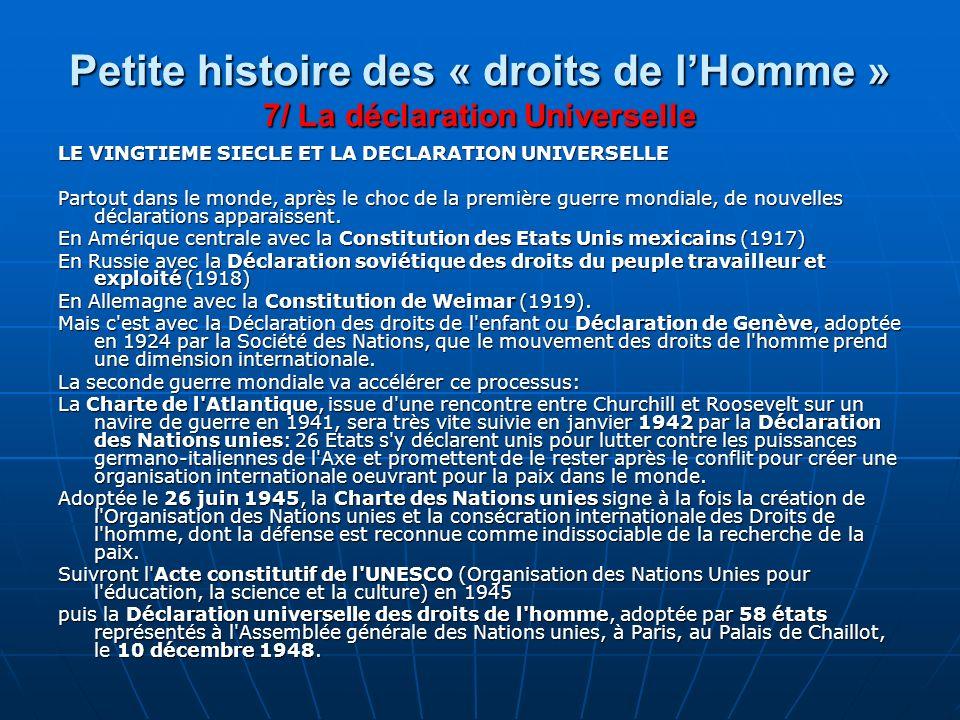 Petite histoire des « droits de l'Homme » 7/ La déclaration Universelle