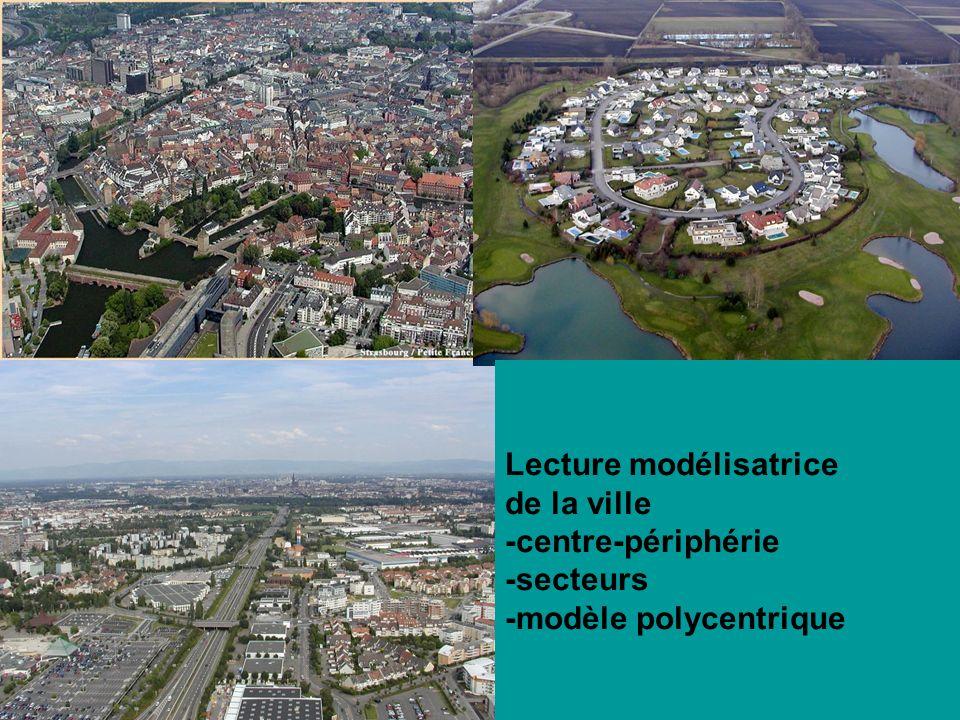 Lecture modélisatrice de la ville -centre-périphérie -secteurs -modèle polycentrique