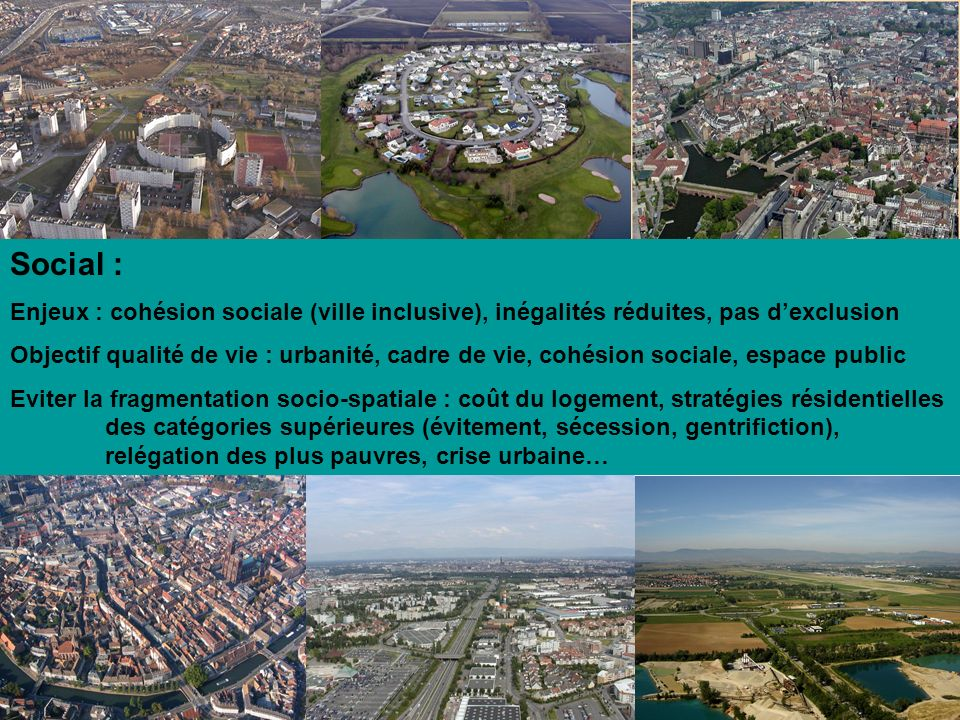 Social : Enjeux : cohésion sociale (ville inclusive), inégalités réduites, pas d'exclusion.