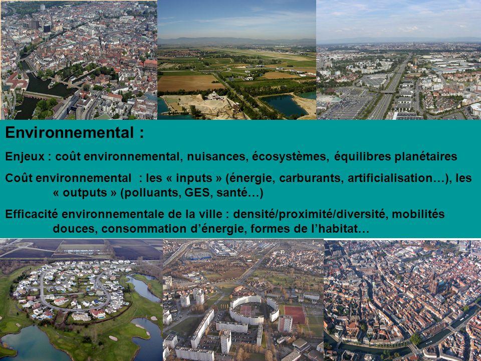 Environnemental : Enjeux : coût environnemental, nuisances, écosystèmes, équilibres planétaires.