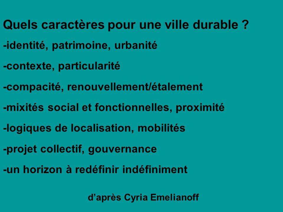 Quels caractères pour une ville durable