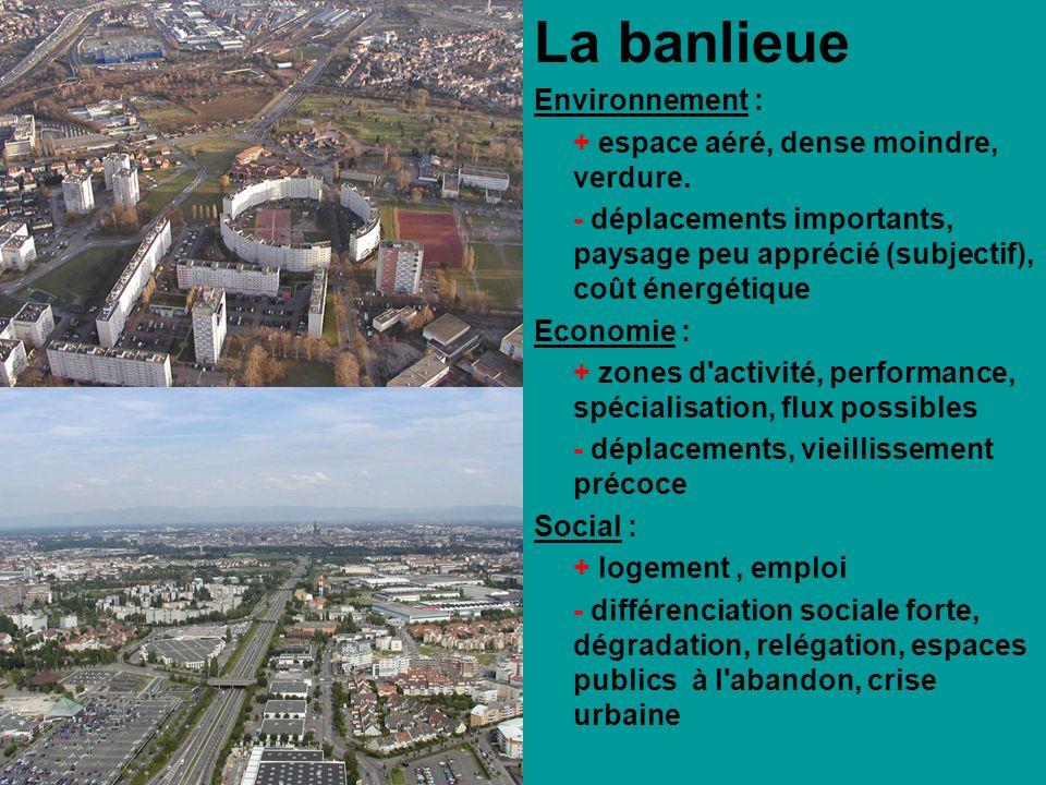 La banlieue Environnement : + espace aéré, dense moindre, verdure.