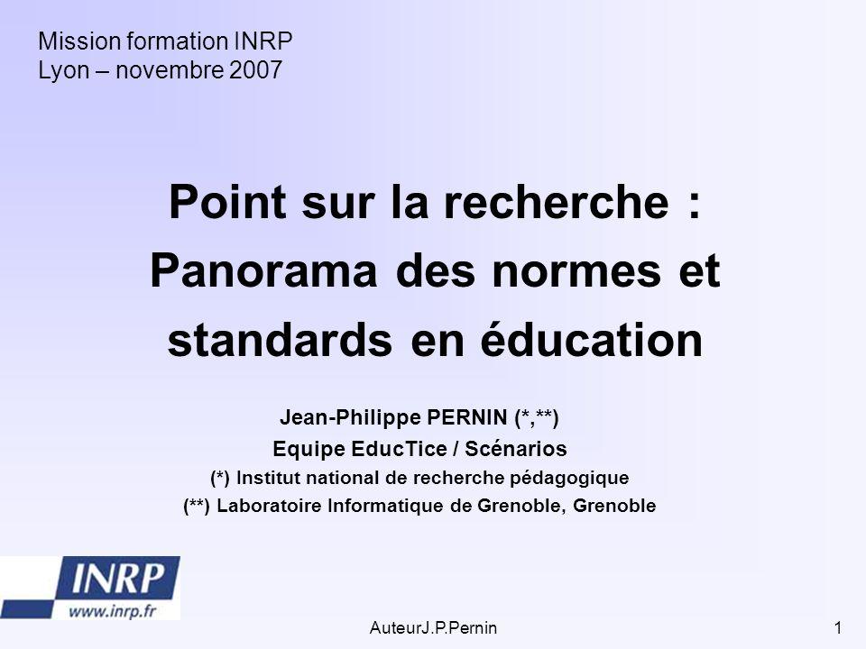 Point sur la recherche : Panorama des normes et standards en éducation