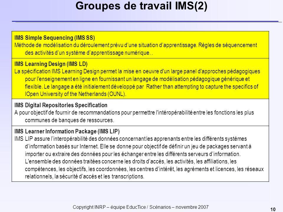 Groupes de travail IMS(2)