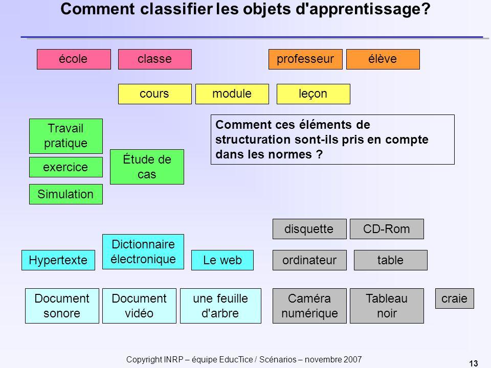 Comment classifier les objets d apprentissage