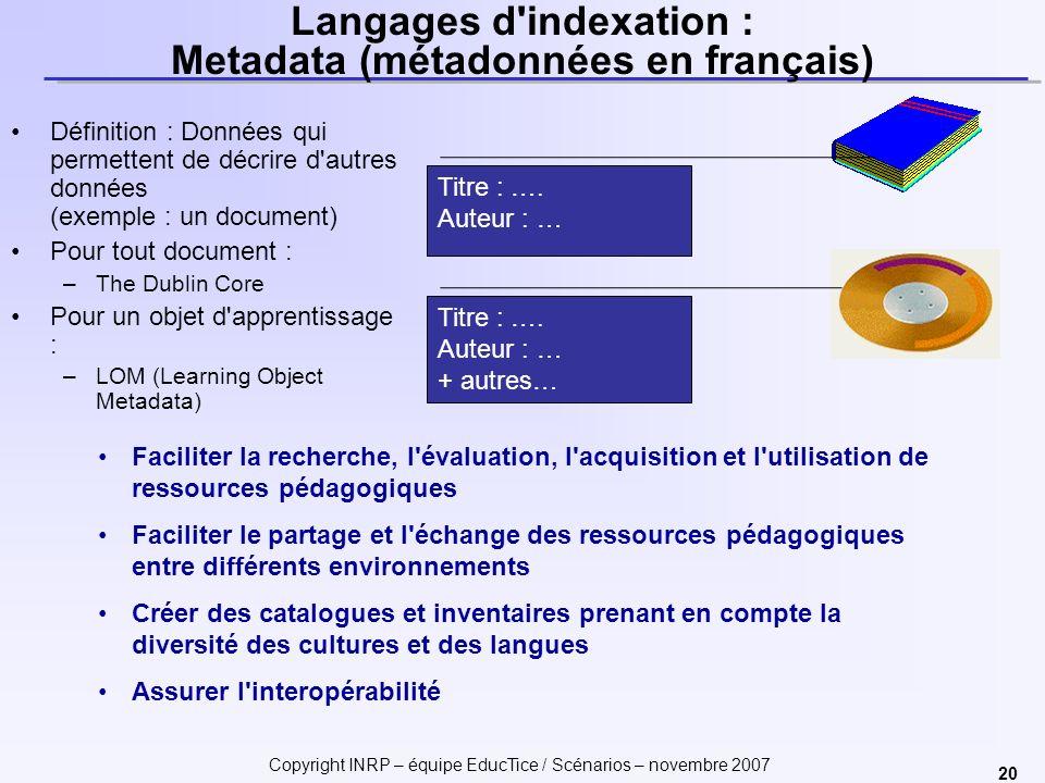 Langages d indexation : Metadata (métadonnées en français)