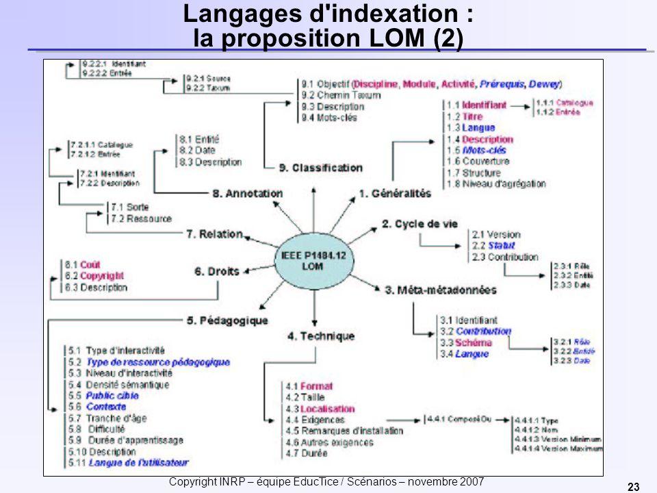 Langages d indexation : la proposition LOM (2)