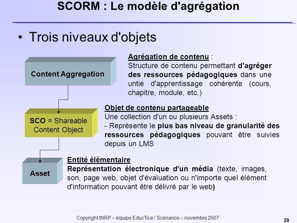 SCORM : Le modèle d agrégation