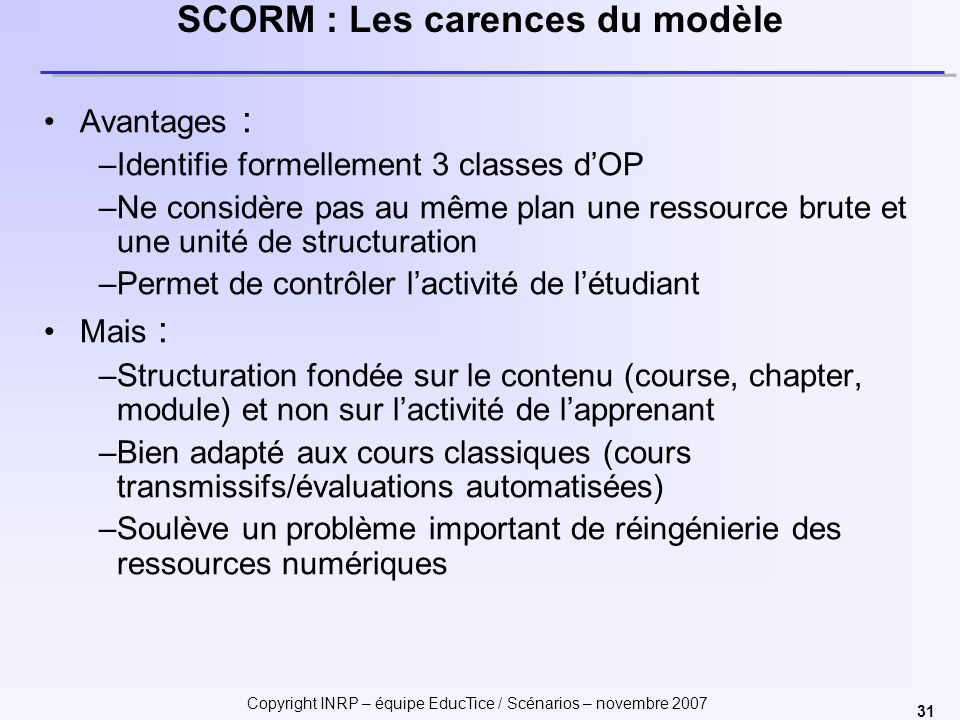 SCORM : Les carences du modèle