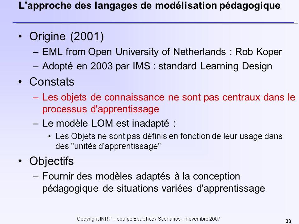 L approche des langages de modélisation pédagogique
