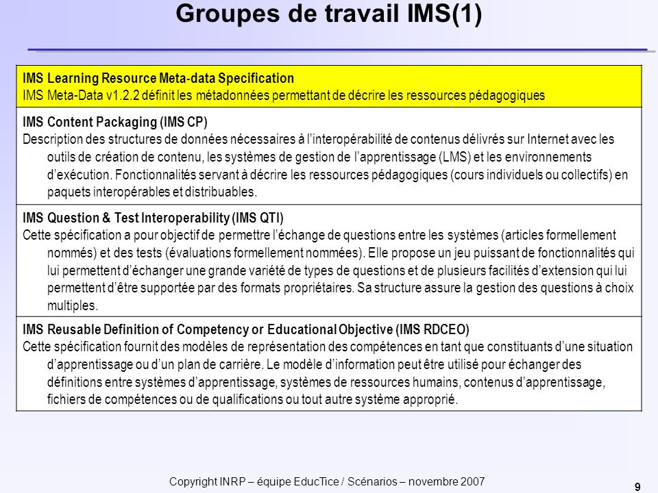 Groupes de travail IMS(1)