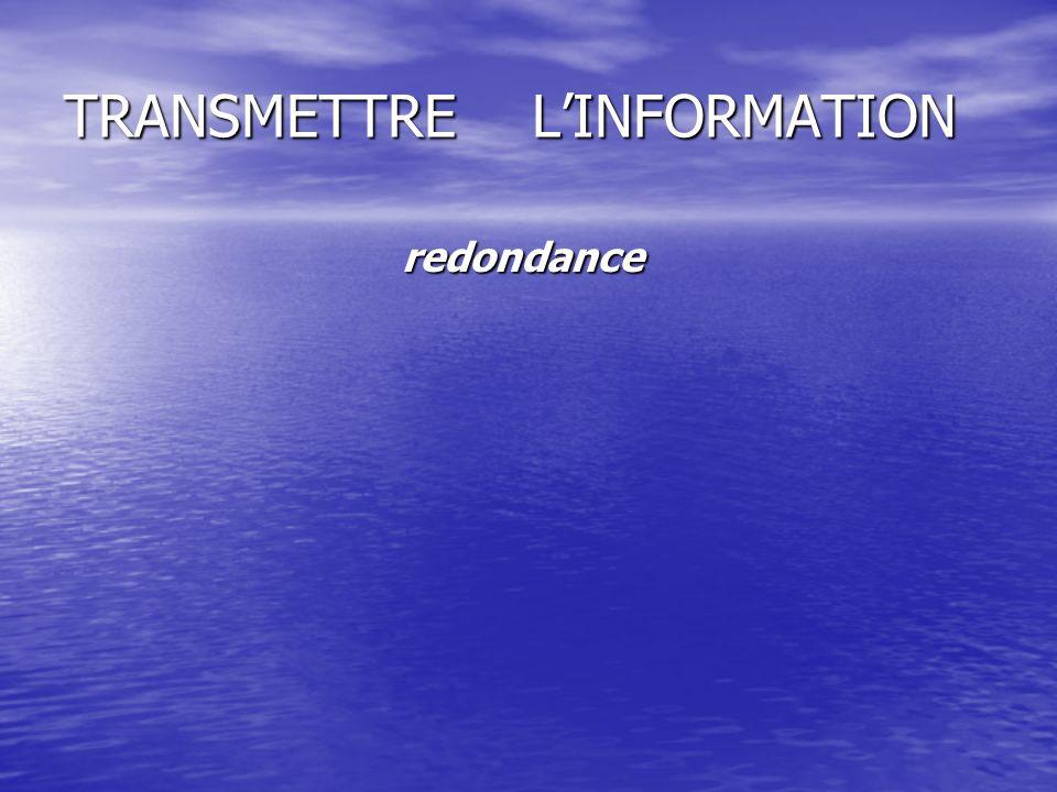 TRANSMETTRE L'INFORMATION