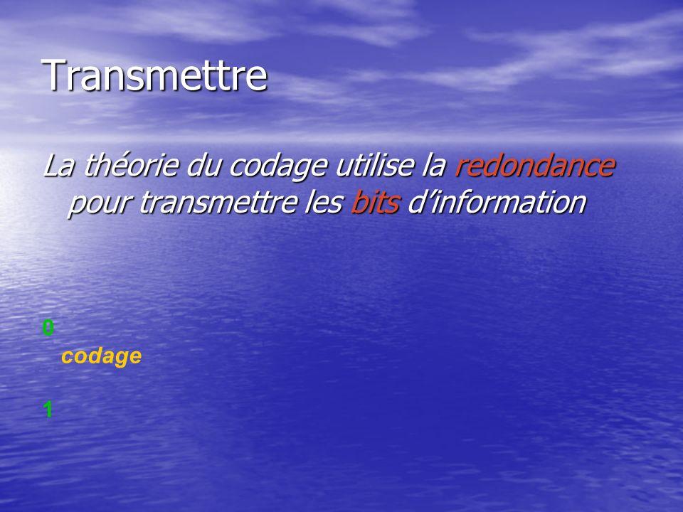Transmettre La théorie du codage utilise la redondance pour transmettre les bits d'information. codage.