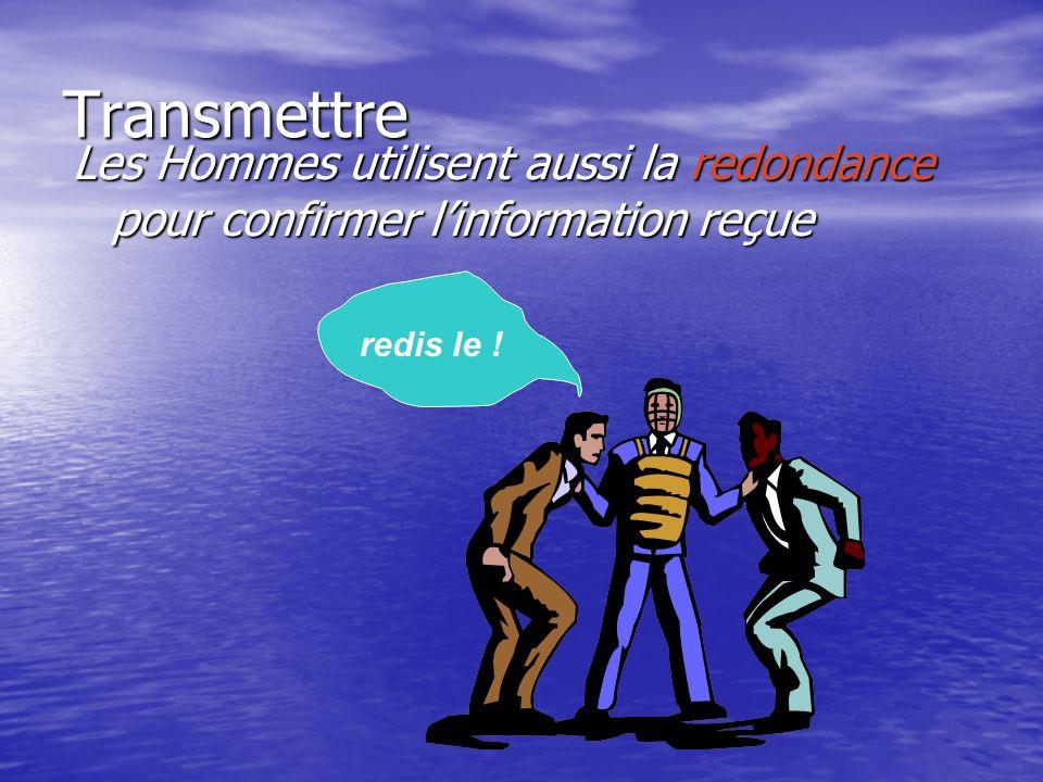 Transmettre Les Hommes utilisent aussi la redondance pour confirmer l'information reçue redis le !