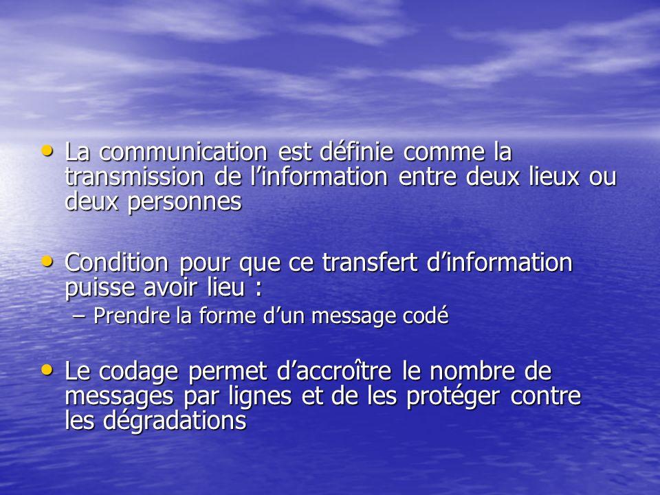 Condition pour que ce transfert d'information puisse avoir lieu :