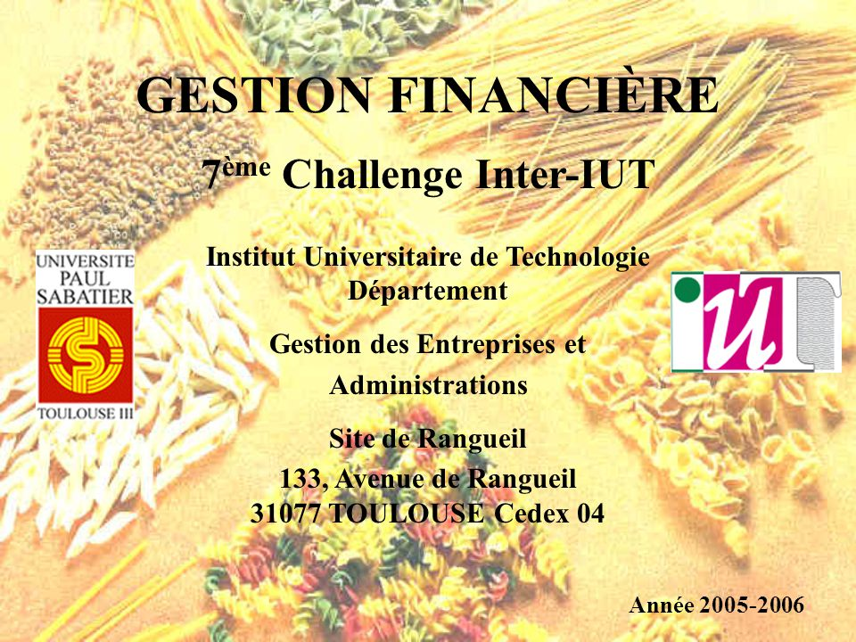 GESTION FINANCIÈRE 7ème Challenge Inter-IUT