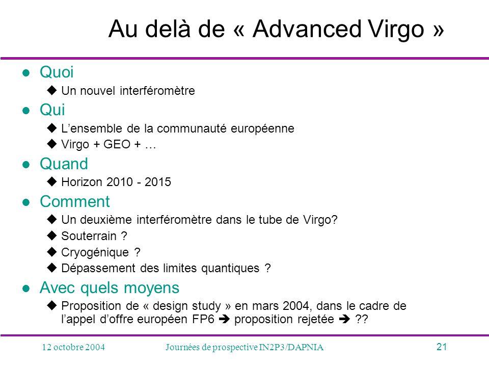 Au delà de « Advanced Virgo »