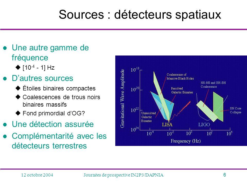 Sources : détecteurs spatiaux