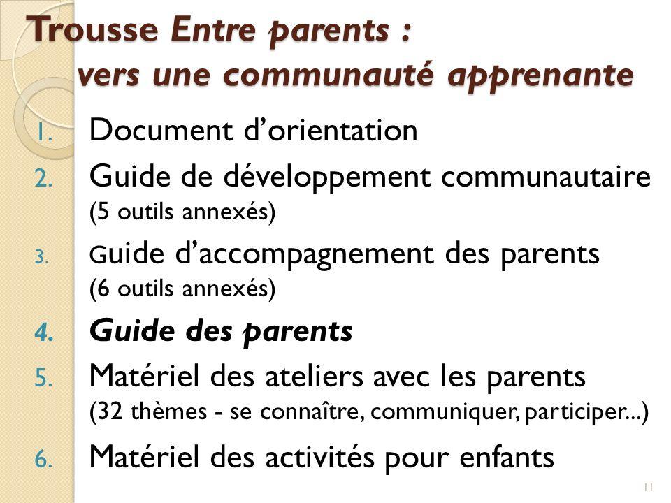 Trousse Entre parents : vers une communauté apprenante