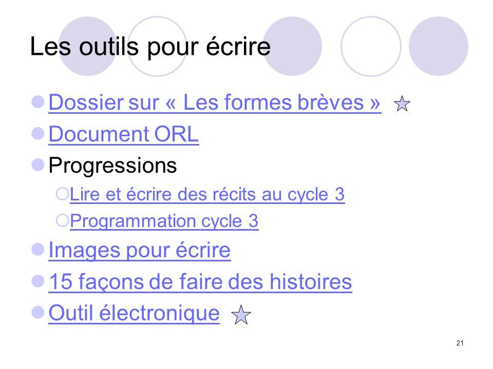 Les outils pour écrire Dossier sur « Les formes brèves » Document ORL