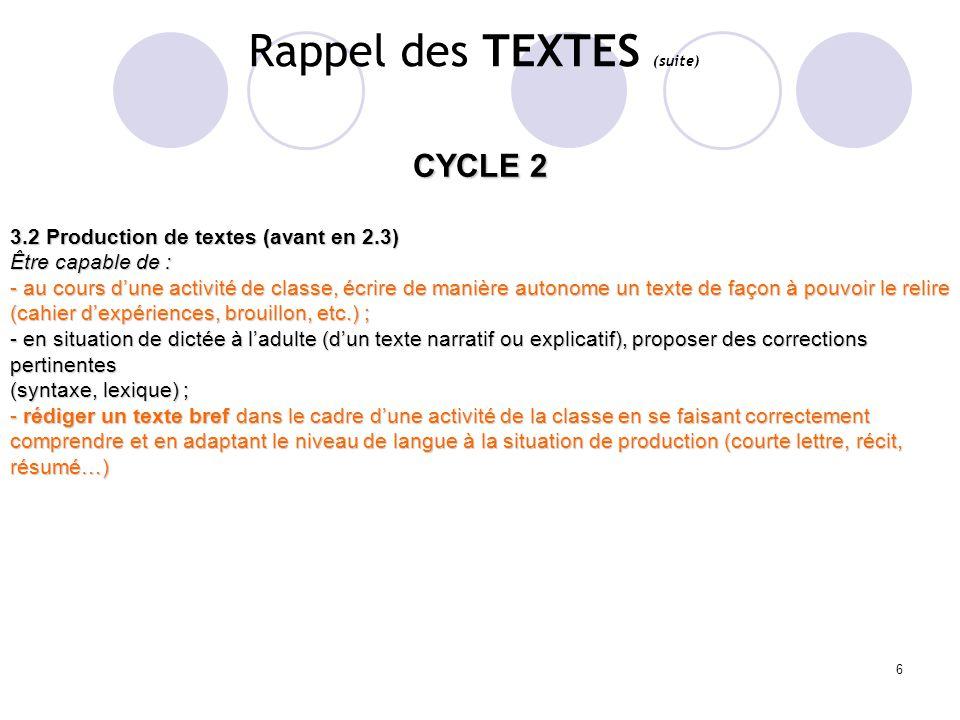 Rappel des TEXTES (suite)
