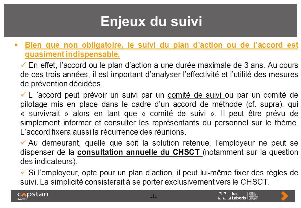 Enjeux du suivi Bien que non obligatoire, le suivi du plan d'action ou de l'accord est quasiment indispensable.