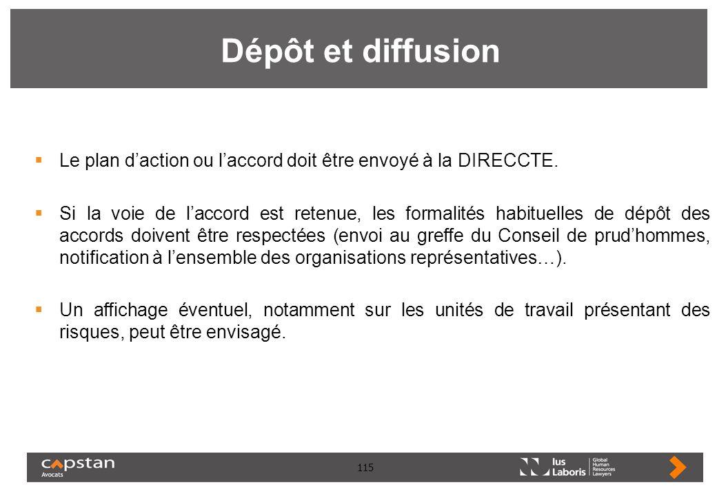 Dépôt et diffusion Le plan d'action ou l'accord doit être envoyé à la DIRECCTE.