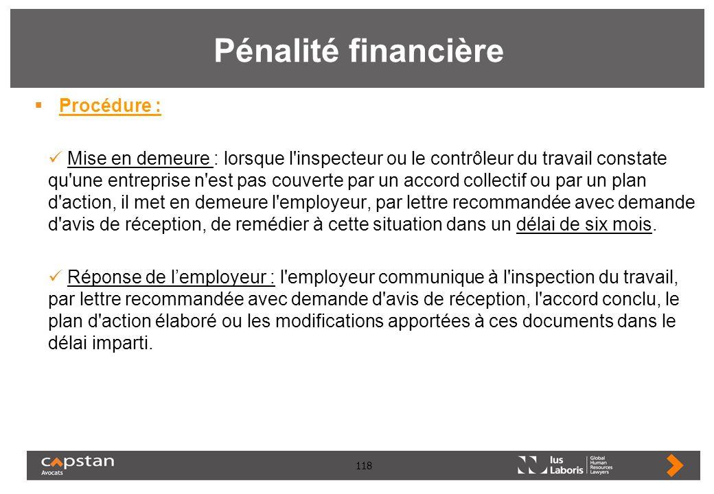 Pénalité financière Procédure :