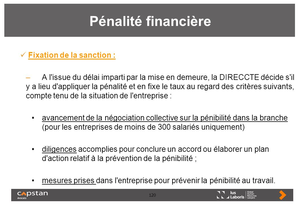 Pénalité financière Fixation de la sanction :