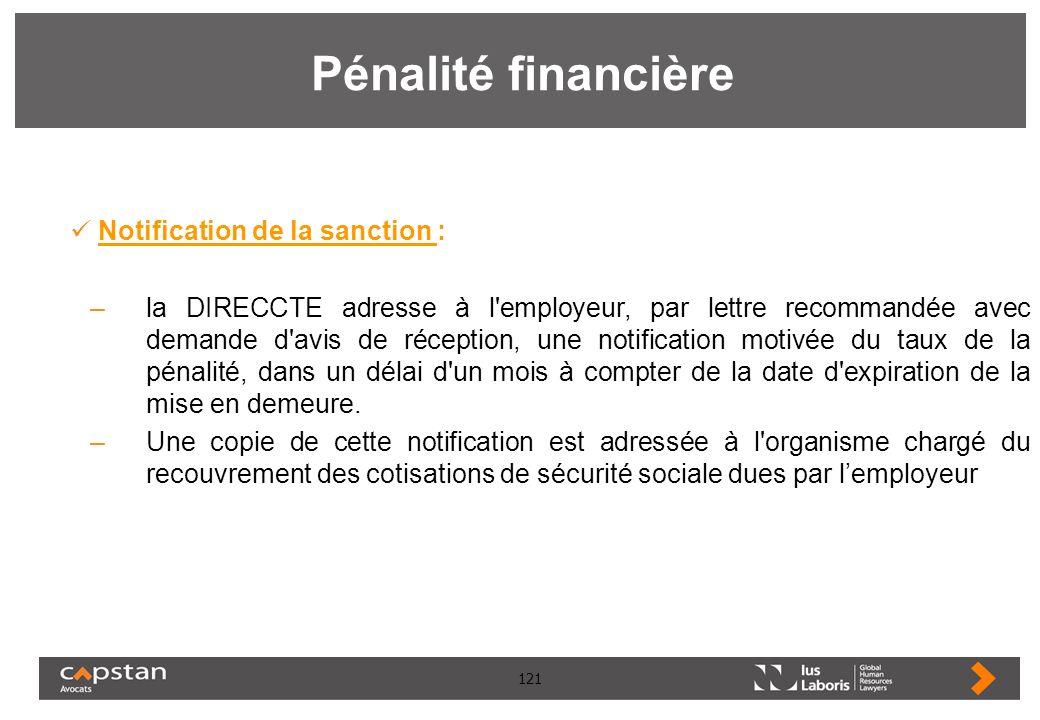 Pénalité financière Notification de la sanction :