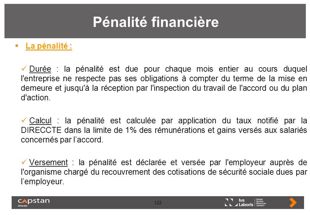 Pénalité financière La pénalité :