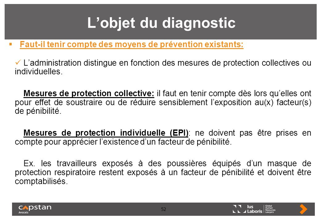 L'objet du diagnostic Faut-il tenir compte des moyens de prévention existants: