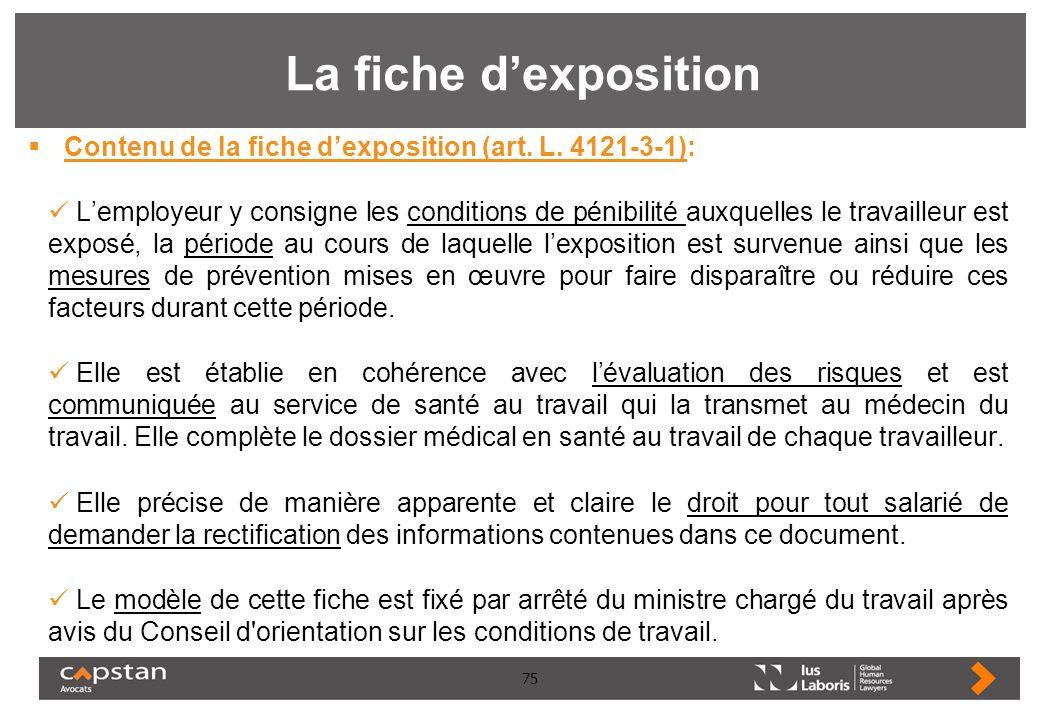 La fiche d'exposition Contenu de la fiche d'exposition (art. L. 4121-3-1):