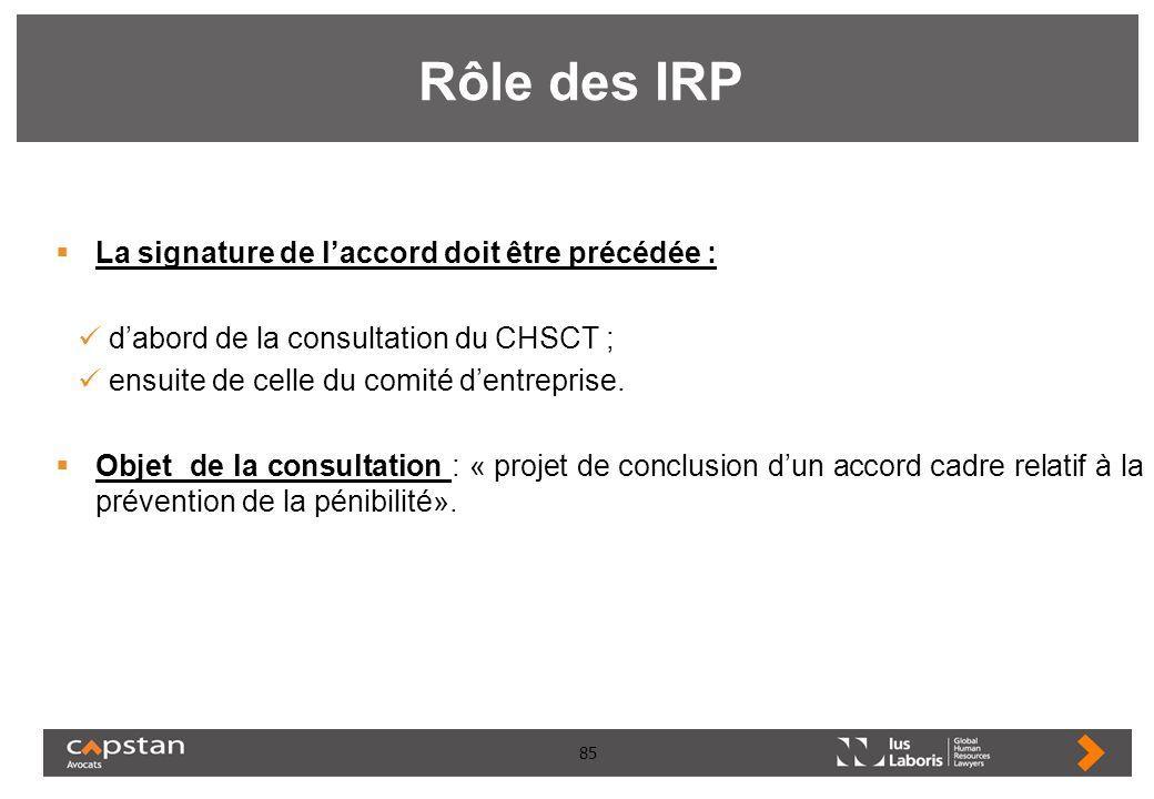 Rôle des IRP La signature de l'accord doit être précédée :